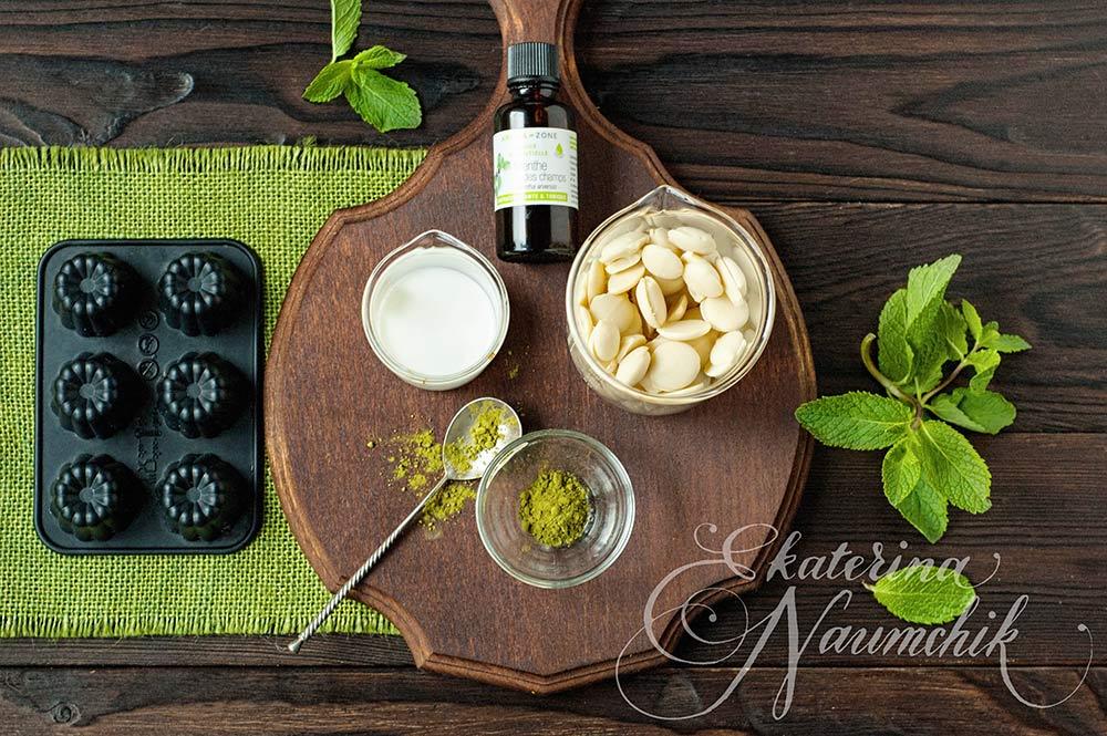 компоненты для приготовления мятного шоколада с зеленым чаем