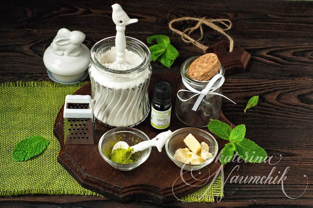 Что нужно для приготовления сухой мятной маски с зелёным чаем