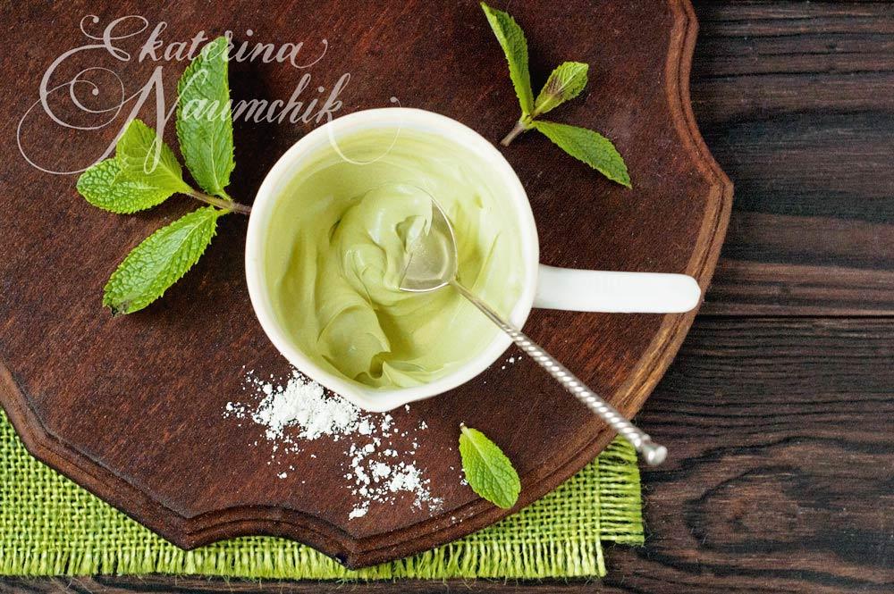 Мятная маска с зелёным чаем матча готова для использования
