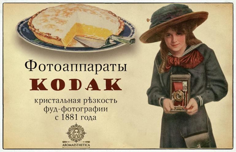 фотоаппарат для фуд-фото, старинный плакат о фуд-фотографии