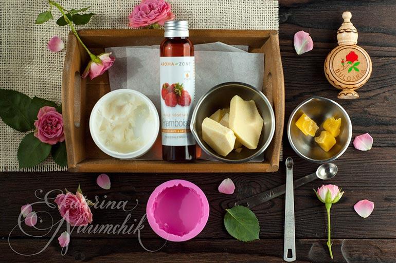 Плитка для тела с розовым маслом, компоненты