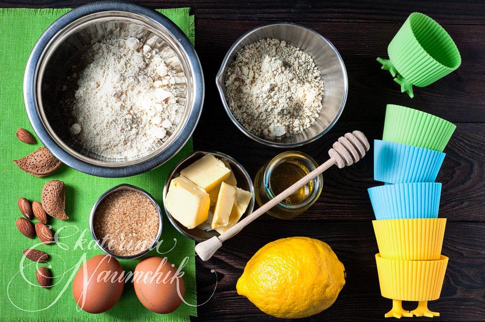 Миндально-кукурузные кексы с мёдом ингредиенты