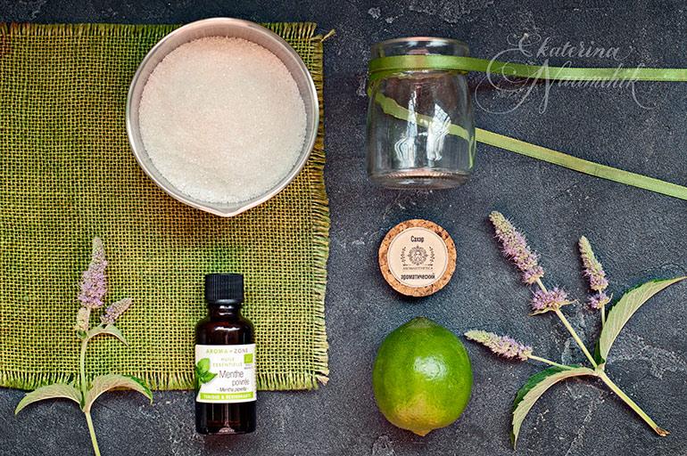 Ингредиенты для приготовления мятного сахара с лаймом