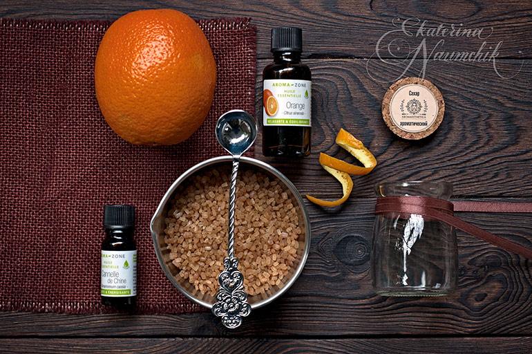 Ингредиенты для приготовления Апельсинового сахара с корицей