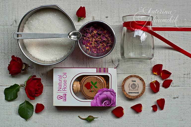 ароматизированный сахар с эфирным маслом розы
