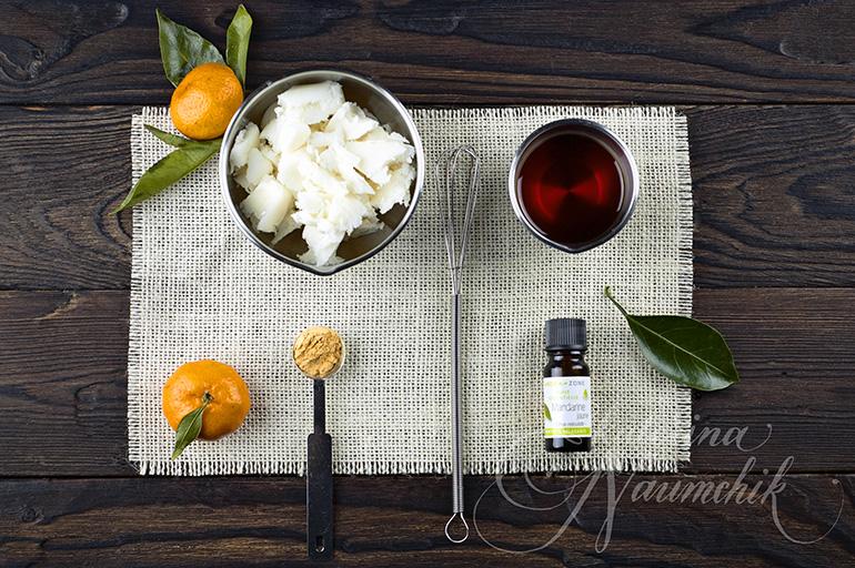 ингредиенты для приготовления взбитого масла ши с эфирным маслом